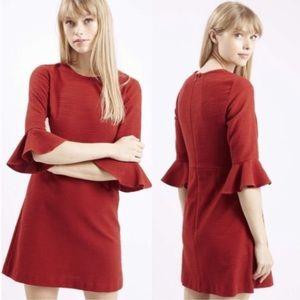 Topshop Mod Bell Sleeve Textured Dress